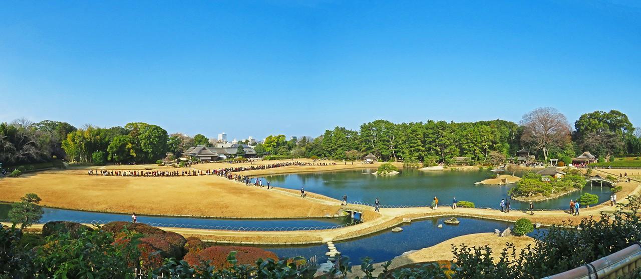 20170103 後楽園今日のタンチョウ散策日開始前の園内ワイド風景 (1)