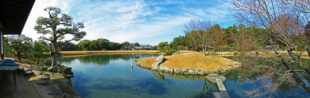 20170118 後楽園今日の沢の池中島茶屋からの眺め園内ワイド風景 (1)