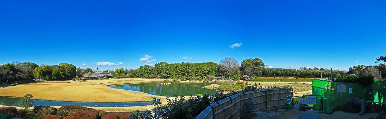 20170125 後楽園今日の唯心山頂上から眺めた園内ワイド風景 (1)
