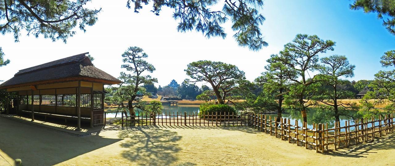 20170126 後楽園今日の園内観光定番位置から眺めた朝のワイド風景 (1)