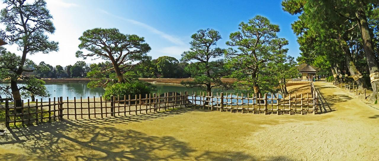 20170208 後楽園今日の観光定番位置から眺めた園内ワイド風景 (1)