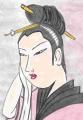 3浮世絵 娘日時計午の刻笄に髪を巻く貝髪のふろ上がりの娘(2)