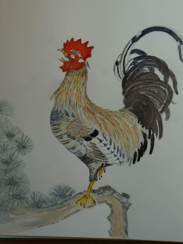 鶏の水彩画