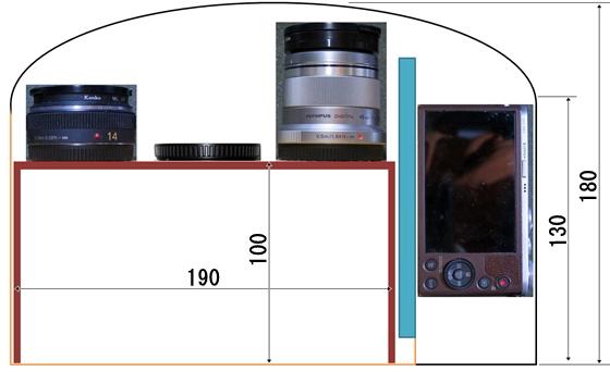 カメラバッグ内配置正面図