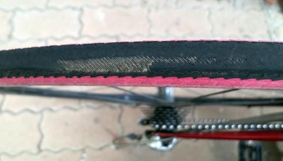 自転車タイヤ消耗