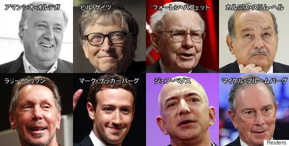 20170116この8人の大金持ちは、世界人口の半分と同等の資産を持っている