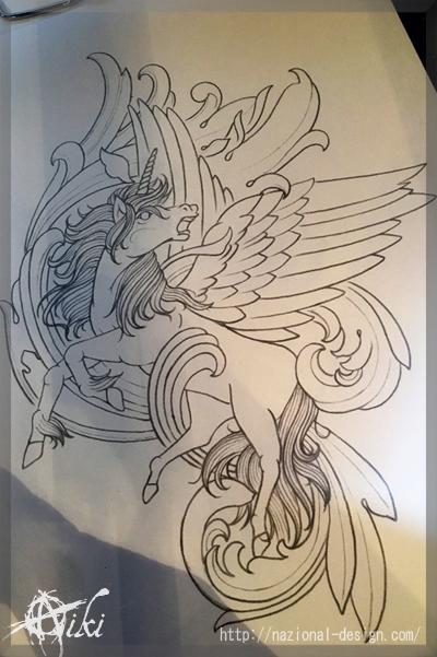 20161222 名古屋 新栄 栄 大須 tattoo タトゥー スタジオ NazionalDesign ピアス ピアッシング ボディピアス 下絵 馬 ペガサス ユニコーン ブラックアンドグレー 羽 完成