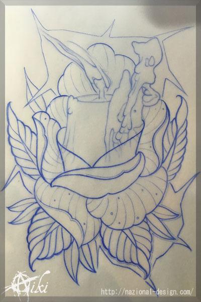 20170109 名古屋 新栄 栄 大須 tattoo タトゥー スタジオ NazionalDesign ピアス ピアッシング ボディピアス 下絵 バラ キャンドル ろうそく