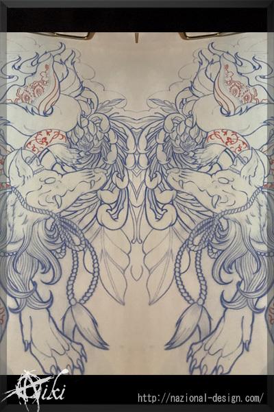 20170114 名古屋 新栄 栄 大須 tattoo タトゥー スタジオ NazionalDesign ピアス ピアッシング ボディピアス 九尾の狐 きつね 刺青 着物 和柄 和彫り