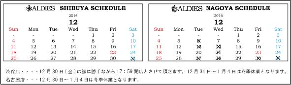2016年12月ブログ用営業日カレンダー
