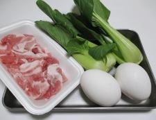 もやし豚こま炒り卵の黒胡椒あんかけ 材料①