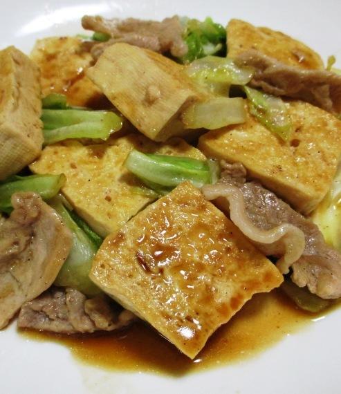 豆腐と豚こまのオイスターソース炒め 大