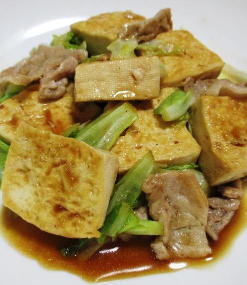 豆腐と豚こまのオイスターソース炒め B