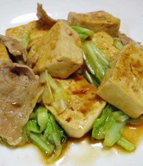 豆腐と豚こまのオイスターソース炒め 拡大