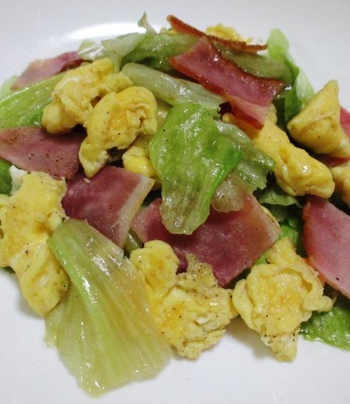 ベーコンレタス卵のさっと炒め B