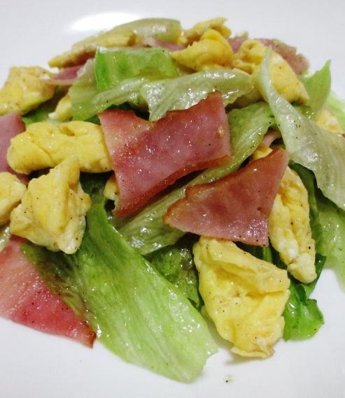 ベーコンレタス卵のさっと炒め 大