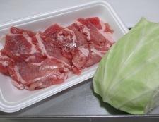 キャベツと豚こまのおろしにんごソース炒め 材料