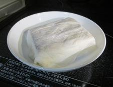 車麩と焼き豆腐の煮物 調理①