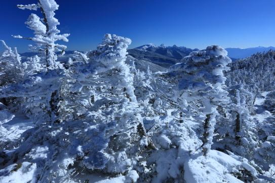 樹氷の彼方に南八ヶ岳の名峰