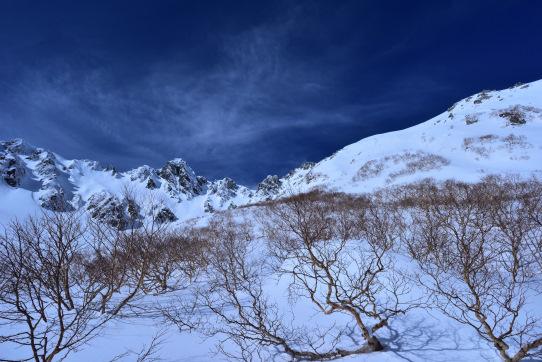 ダケカンバの林と宝剣岳を彩る雲