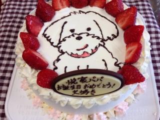 白い犬のケーキ