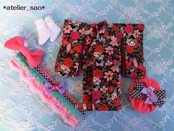 ミディブライス着物◆花柄パンダ◇黒地3