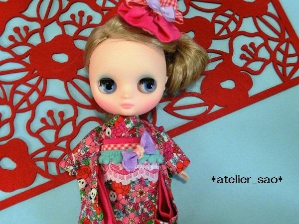 ミディブライス着物◆花柄パンダ◇白地×ピンク1
