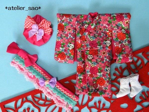ミディブライス着物◆花柄パンダ◇白地×ピンク3