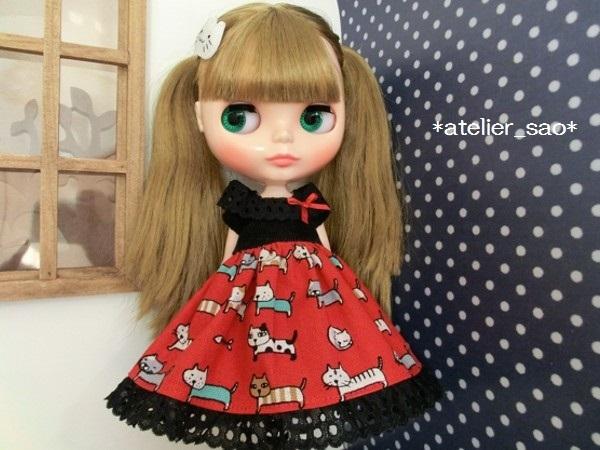 ネオブライス◆猫柄スカート赤×黒1