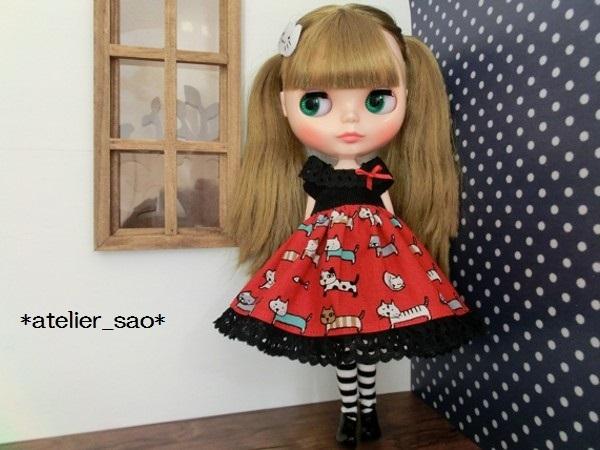 ネオブライス◆猫柄スカート赤×黒2