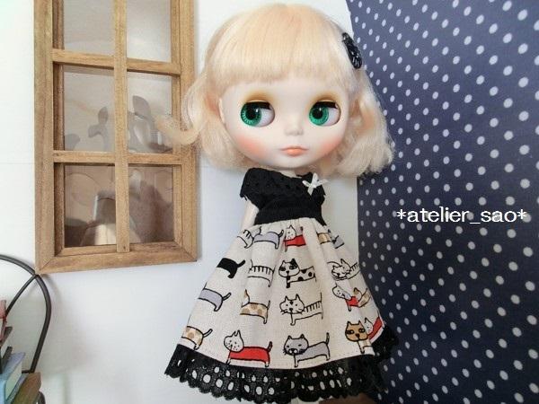 ネオブライス◆猫柄スカート白×黒1