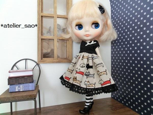 ネオブライス◆猫柄スカート白×黒2