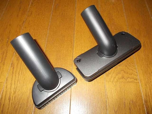 ツインバード TWINBIRD ハンディークリーナー ハンディージェットサイクロン EX HC-EB51GY、ソフトブラシ(画像左側)とフロアブラシ(画像右側)