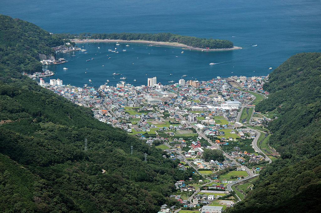 達磨山から撮影した沼津市の戸田地区と戸田港、そして御浜岬