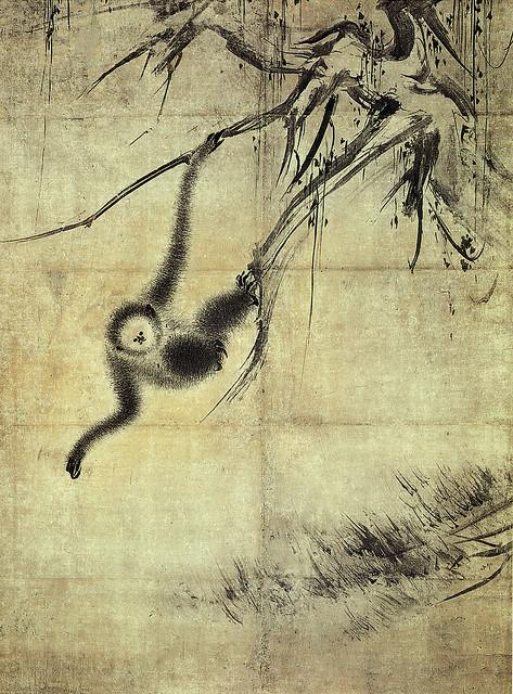 「枯木猿猴図」_左