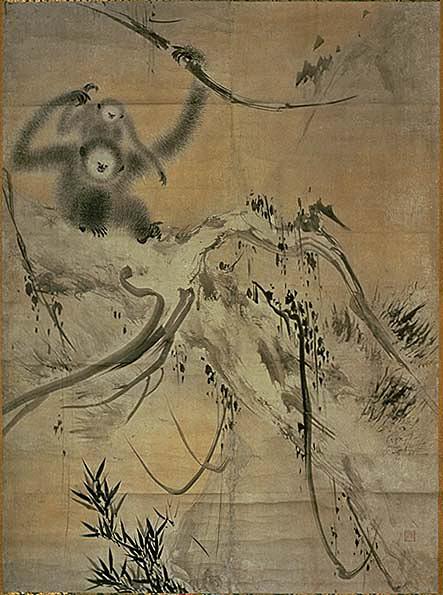 「枯木猿猴図」_右