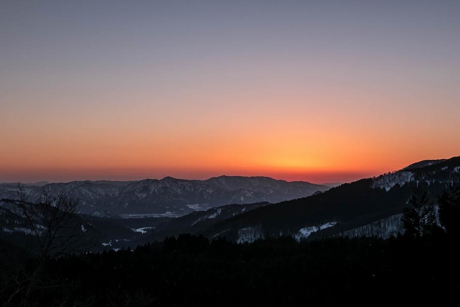 2017.02.04荒島岳登頂_谷峠からの夕景