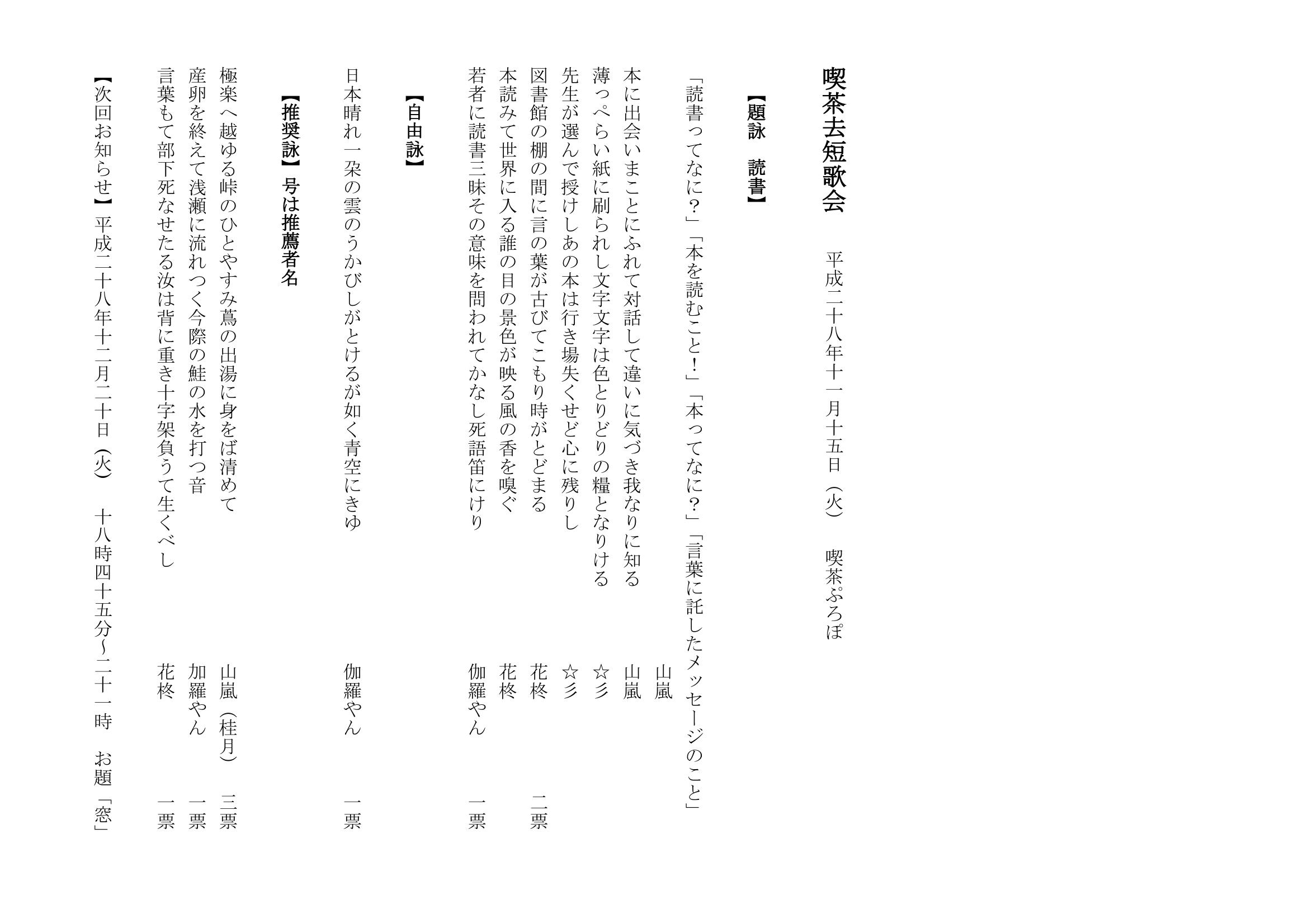 0161115喫茶去短歌会平成二十八年十一月十五日(火)