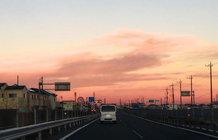 小田厚道路からの夕焼け-432