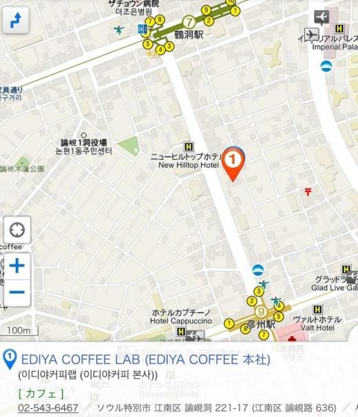 170115EDIYA COFFEE LAB地図