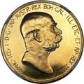 オーストリア フランツヨーゼフ1世 100コロナ 1908年 MS62