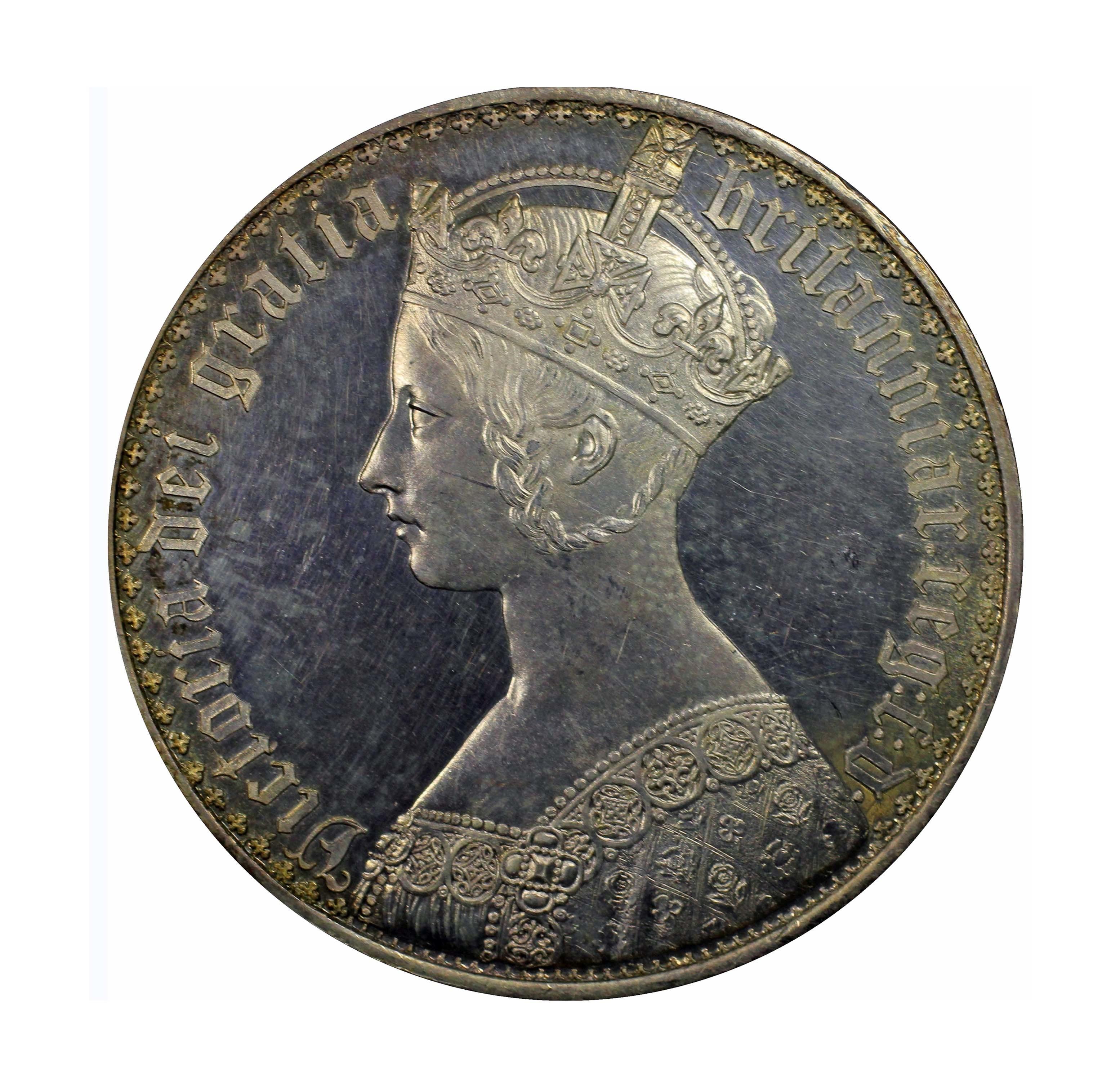 イギリス 1847年 ゴチッククラウン UNDECIMO ON EDGE PCGS PR63