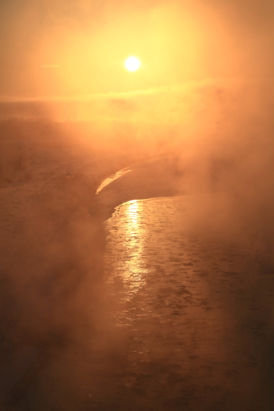 110 オレンジに染まる川面のはす0001