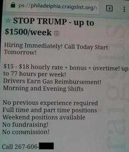 反トランプデモの週給は1500ドル超え