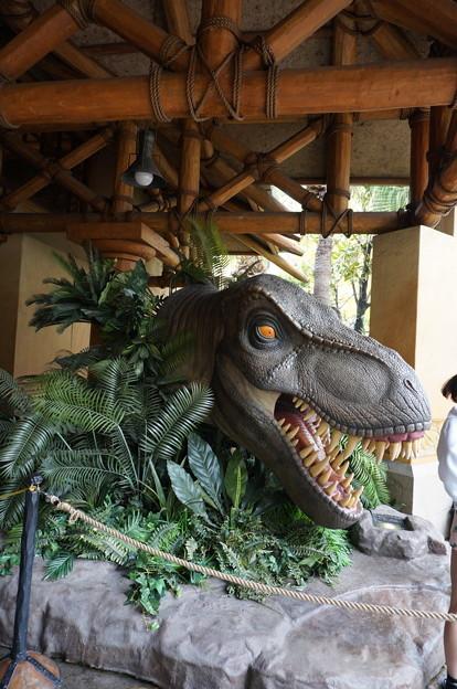 ショップ前に恐竜
