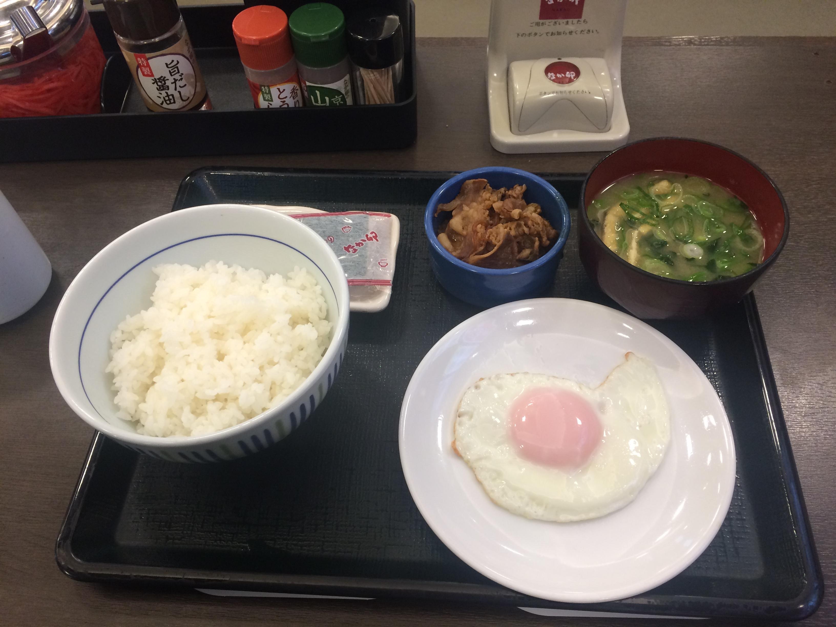 なか卯 目玉焼き牛小鉢朝定食