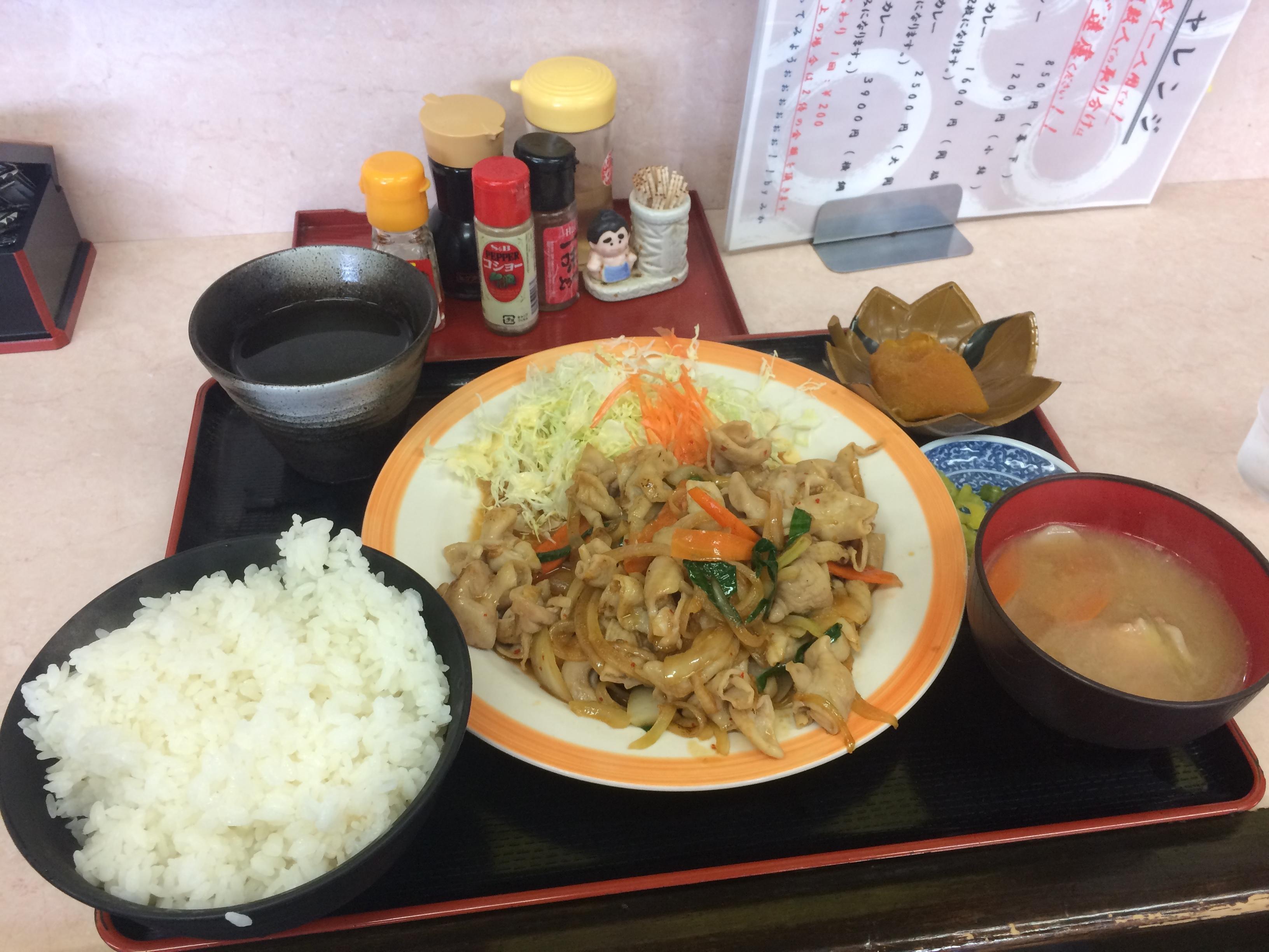 もつ炒め定食 950円 光玉母食堂(めししんちゃん)in三島