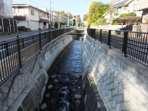 岡本もみじが丘バス停より谷戸川上流を望む