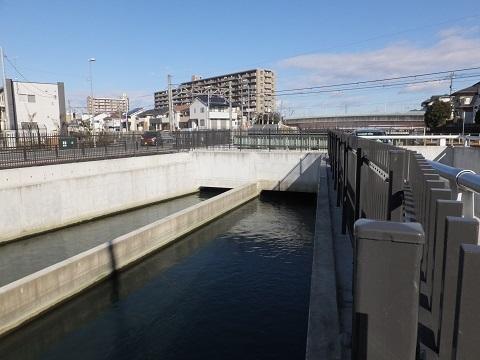 武蔵水路・JR高崎線伏越吐口