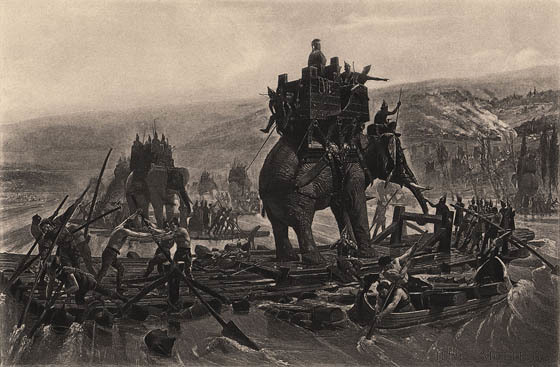 Hannibal_traverse_le_Rhône_Henri_Motte_1878